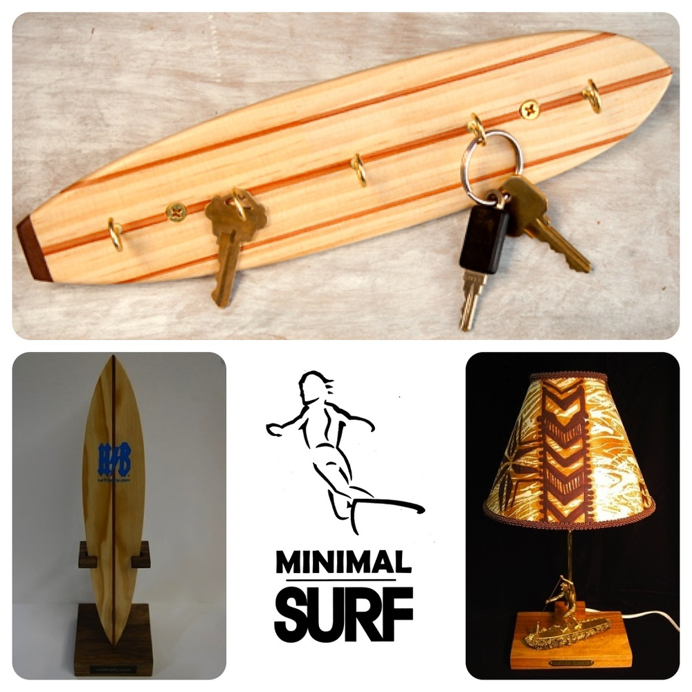 "From top, counterclockwise: Surfboard Keyrack by Dave C. Reynolds (Photo by Robyn Eden); ""Surf Hero"" Surf Trophy by Dave C. Reynolds (Photo courtesy of the artist); Minimal Surf exhibit art by Dave C. Reynolds (Photo courtesy of the artist); Awesome Limited Edition SUP Surf Racer Trophy Lamp Koa Wood Base by Dave C. Reynolds (Photo courtesy of the artist)"