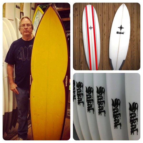 Ed Sakal and his handmade surfboards (Left and bottom photos courtesy of Sakal Surfboards; top photos by Lauren Lloyd)