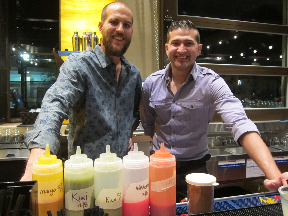 Beverage Director/Mixologist Colin Pflugradt and Barback/Busser Trainer Jose Lopez  ( Photo by Lauren Lloyd)