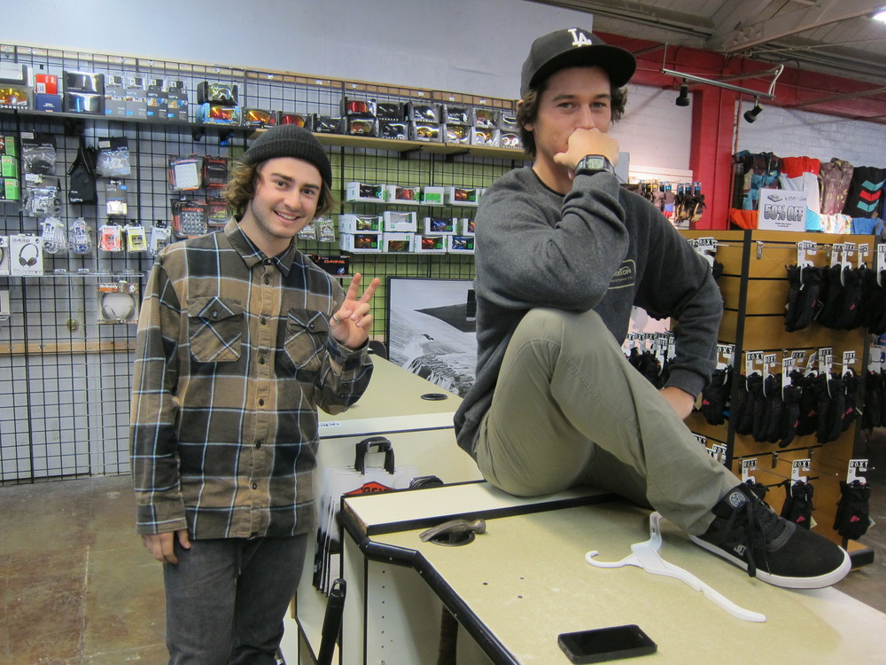 Jack's Snowboard Shop employees Sam and Justin, at your service  (Photo by Lauren Lloyd)