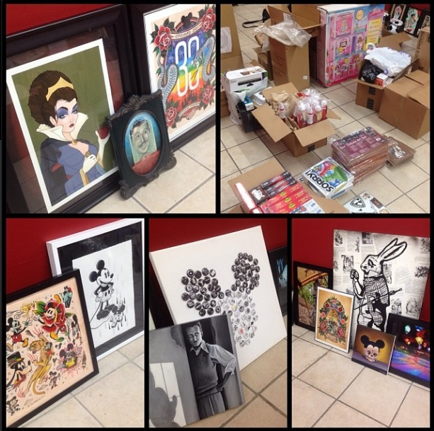 "A sneak peek at featured artworks in ""Must Be This Tall To Ride: A Disneyland-Themed Art Show""  (Photo via  Hek  Instagram)"