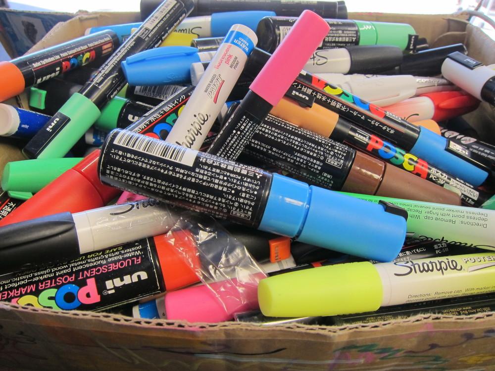 Sam Bernal's water-based paint pen arsenal (Photo by Lauren Lloyd)