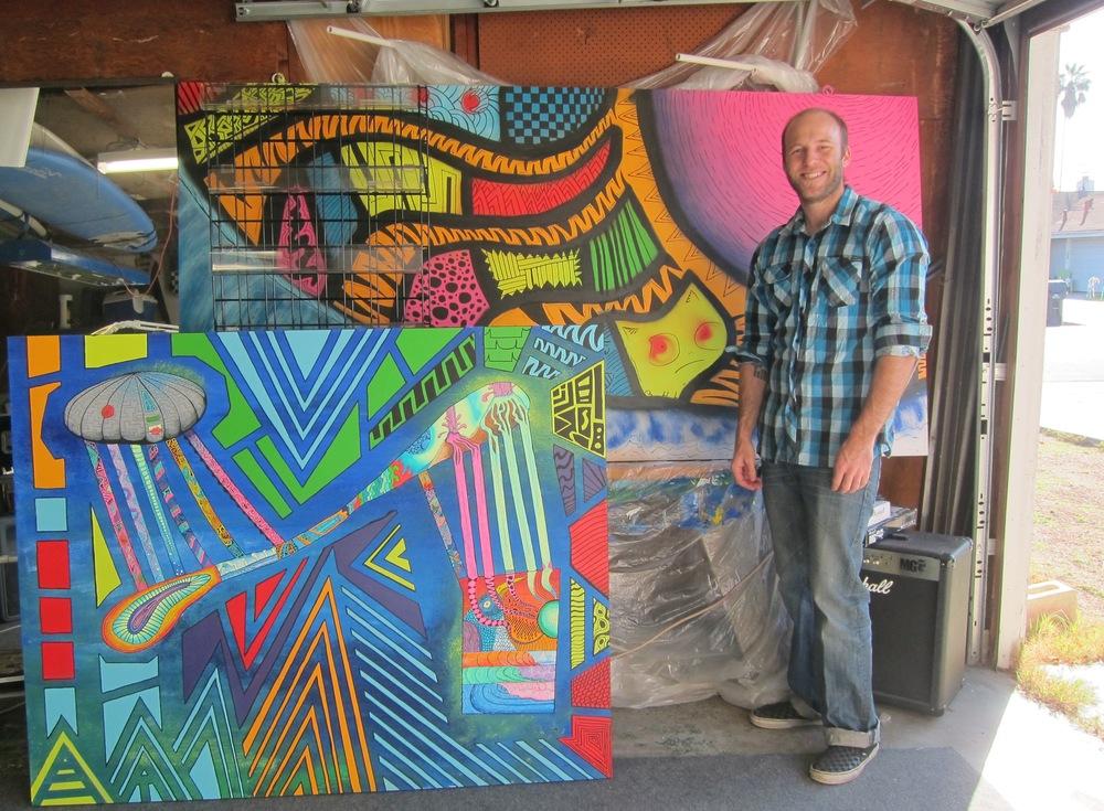 Sam Bernal in his sunny Huntington Beach garage studio (Photo by Lauren Lloyd)