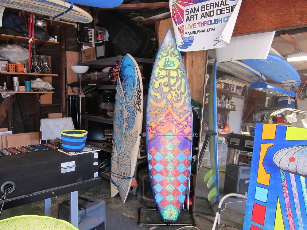 Sam Bernal surfboard art (Photo by Lauren Lloyd)