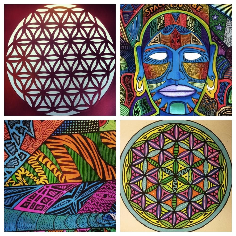 """Sam Bernal works, including flower of life designs, """"Crazy Print 1"""" and """"Blue Buddha"""" (Photos courtesy of Sam Bernal)"""