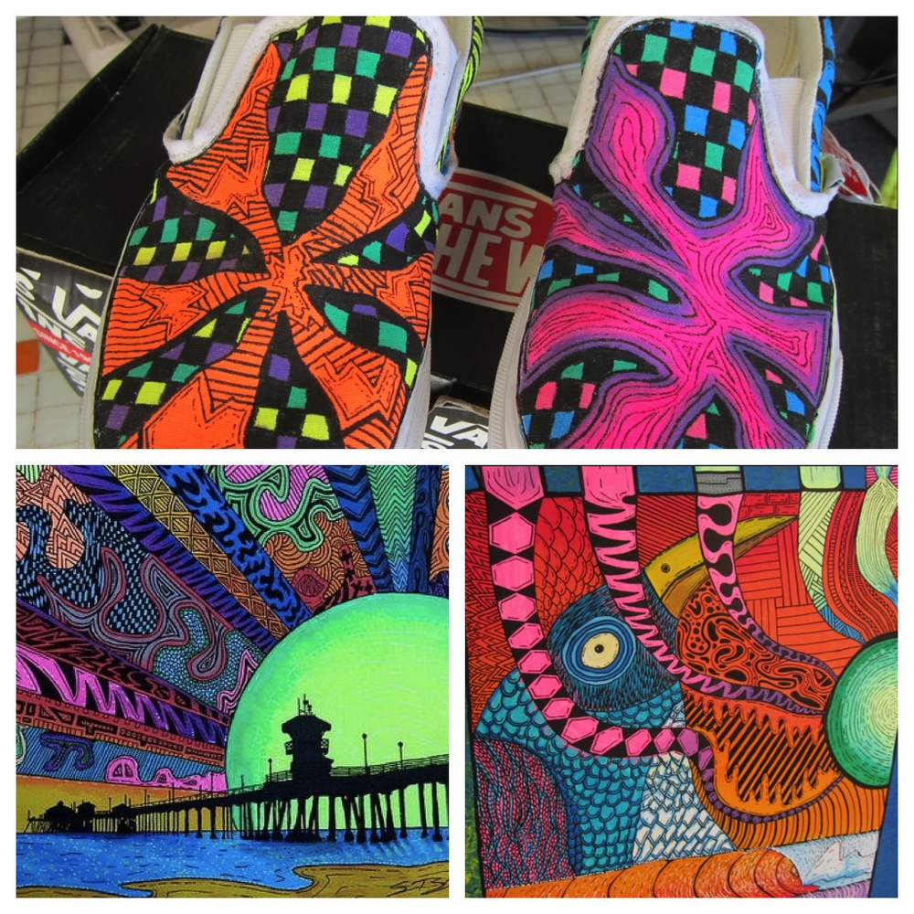 "Sam Bernal hand-painted Vans, ""Hbdazzle"" and mural in the works  (Photos by Lauren Lloyd and courtesy of Sam Bernal)"