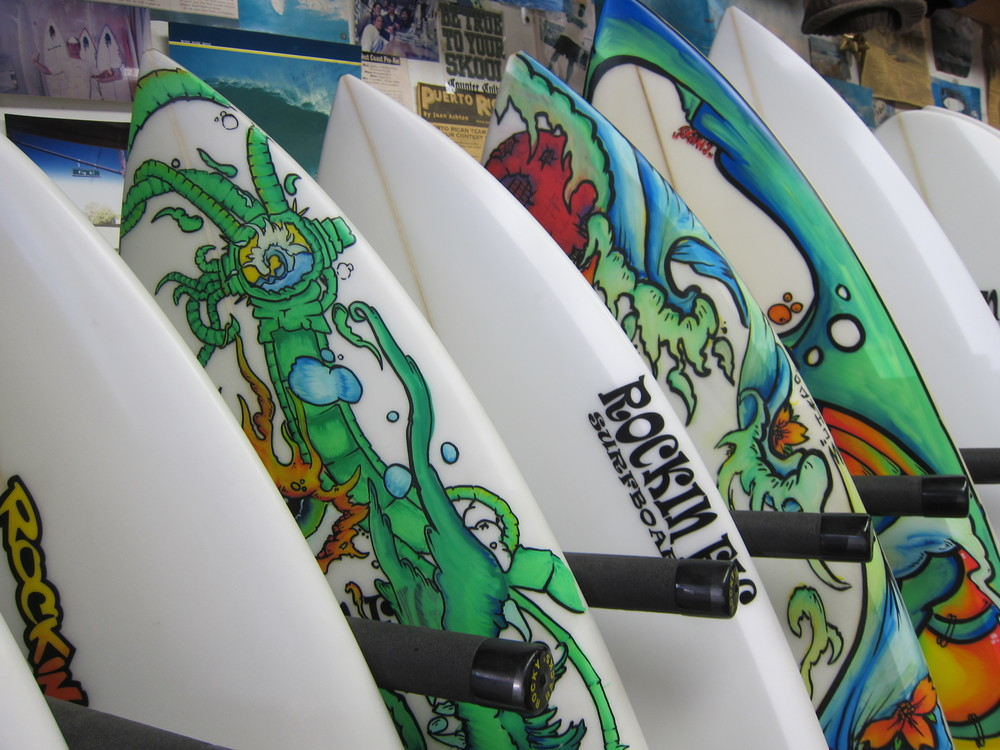 A few Chado boards at Rockin' Fig Surf Headquarters (Photo by Lauren Lloyd)
