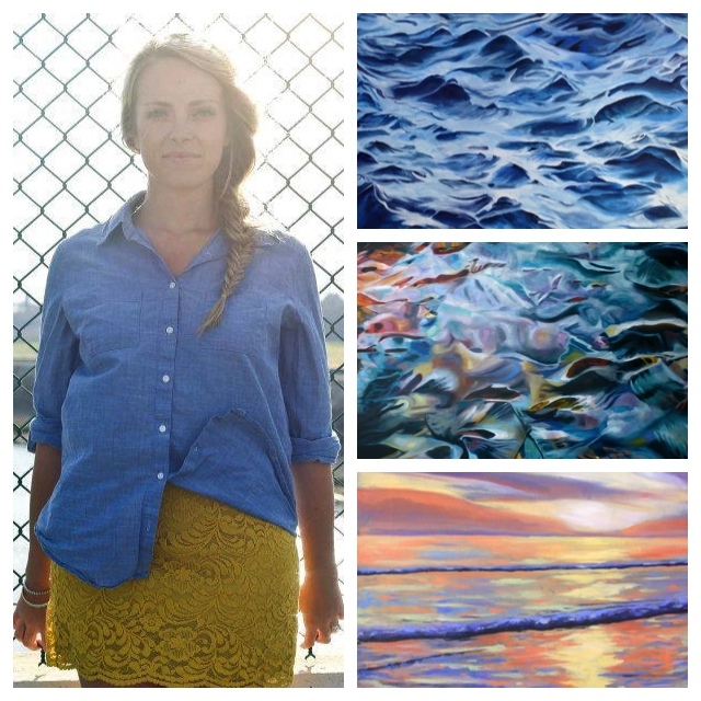 "From left: Mackenzie Matthews; ""Sea Rhythms""; ""Living Water""; ""Tangerine Sunset""  (Photos courtesy of Mackenzie Matthews)"