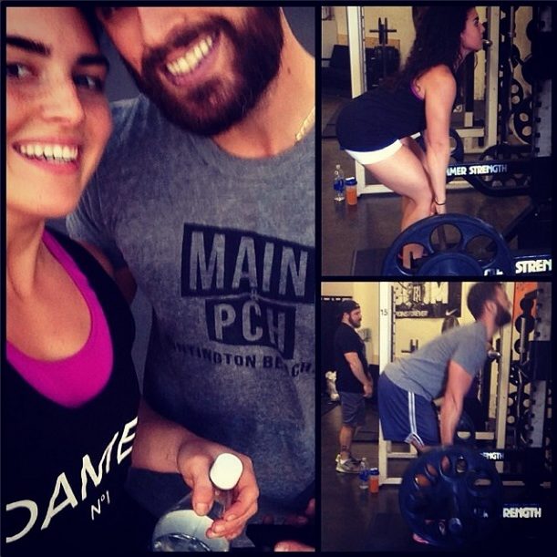 Two of our favorite fans,  FrannyFit  and Chris Pareja, work our tank and tee while working on their fitness  (Collage courtesy of FrannyFit and Chris Pareja)