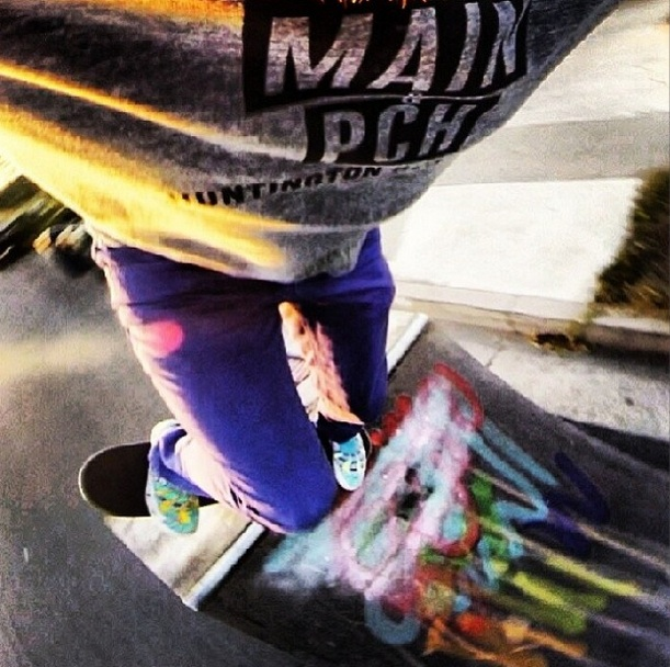 Local artist  Sam Bernal  wears his M&P tee during a skate sesh  (Photo courtesy of Sam Bernal)