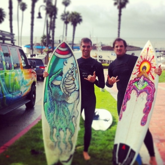 """Taking Michael Brophy out to some big waves at San Clemente pier today!""  (Photo by  Drew Brophy )"