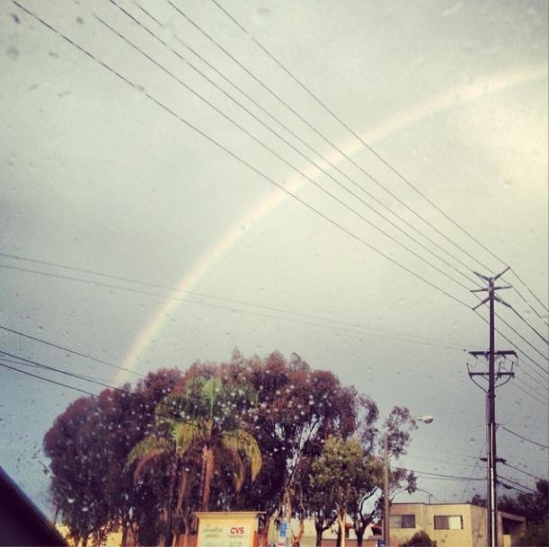 """Somewhere over the#rainbow #huntingtonbeach""  (Photo by Keith Shelley of Surf City Skateboards)"
