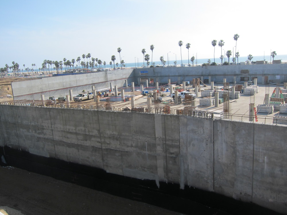 A look to the south over Pacific City's underground parking structure  (Photo by Lauren Lloyd)