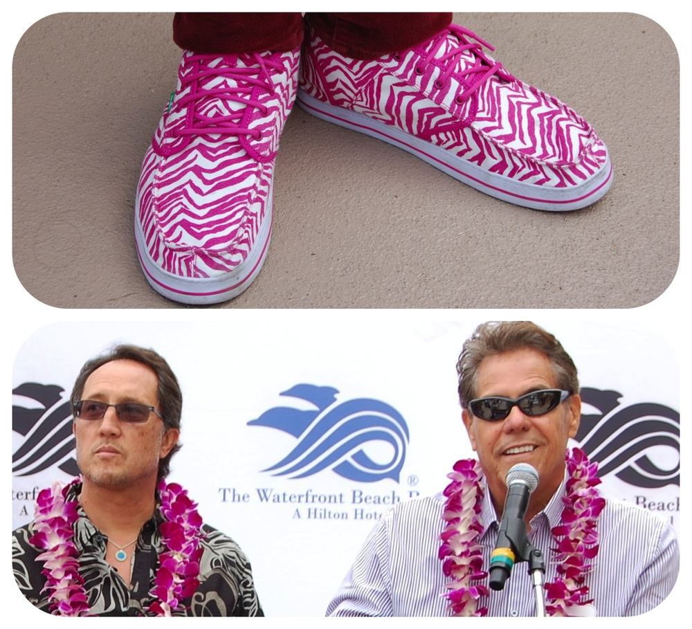"Top: Pete ""PT"" Townend's hot pink custom Sanuks; Bottom: Surfing Heritage & Culture Center Curator and Creative Director Barry Haun and  Executive Director Paul K. Strauch, Jr. (Photos by Lauren Lloyd)"