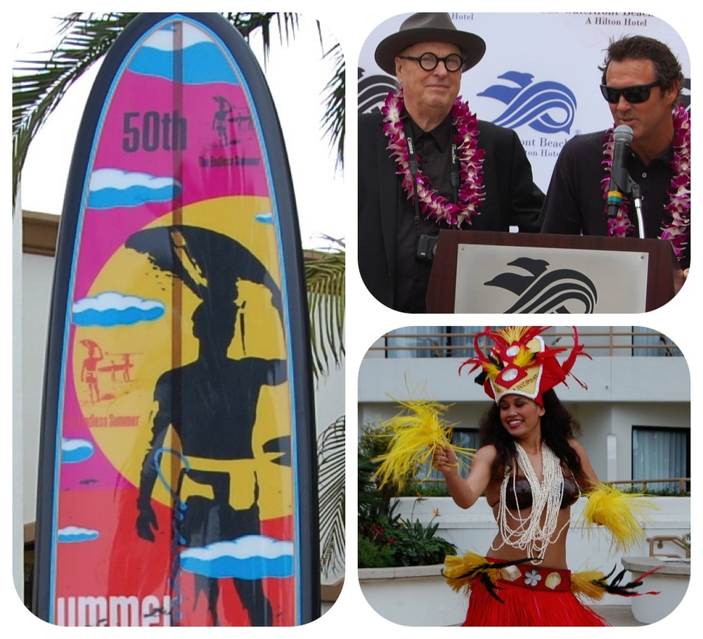 "From left: Robert August and John Van Hamersveld ""Surfboards on Parade"" collaboration board; John Van Hamersveld and Sam August take the mic; Hula girl (Photos by Lauren Lloyd)"