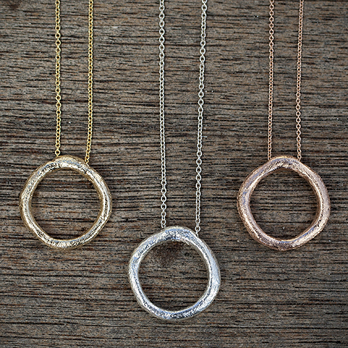"""For the classy mom: Recycled Sterling Silver, 14K Rose Gold & 14K Yellow Gold """"Circle Of Life"""" Necklaces by Jan Palmer Designs, $65 & $395. View in our Made In HB Marketplace ."""