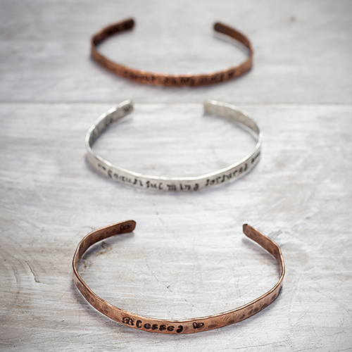 Personalize your message to Mom: Copper and Sterling Silver Bracelets by Pretty Things Jewelry, $25 & $35. View in our Made In HB Marketplace .