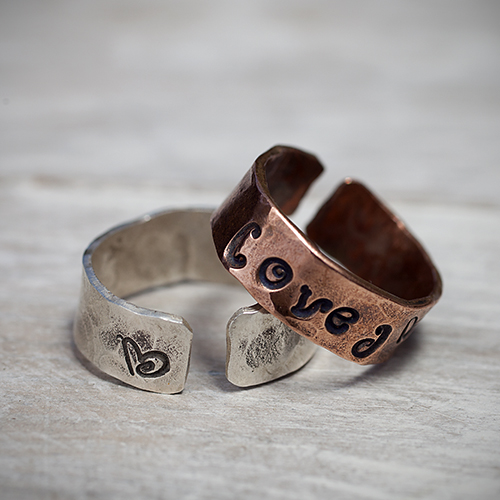 Personalize your message to Mom: Copper and Sterling Silver Rings by Pretty Things Jewelry, $20.  View in our Made In HB Marketplace .