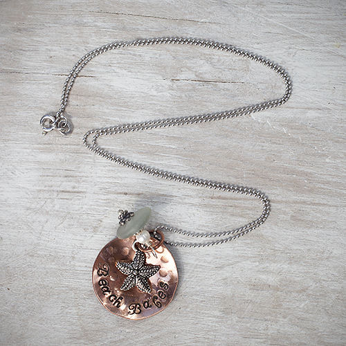"""For your beach babe: """"Beach Babes"""" Necklace by Pretty Things Jewelry, $35. View in our Made In HB Marketplace ."""