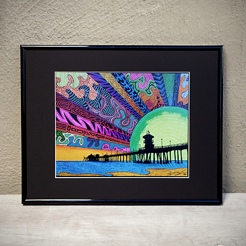 """Take Mom on a """"trip"""" to the Huntington Beach Pier: """"HB Dazzle"""" framed print by Sam Bernal, $50.  View in our Made In HB Marketplace ."""