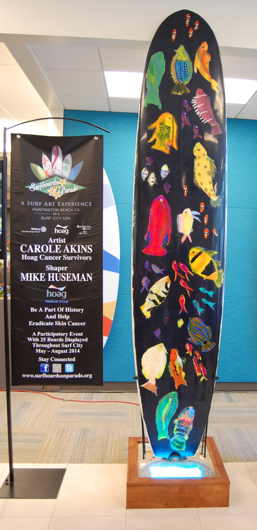 """Surfboards on Parade"" collaboration board featuring shaper Mike Huseman and artist Carole Akins (Photo by Lauren Lloyd)"