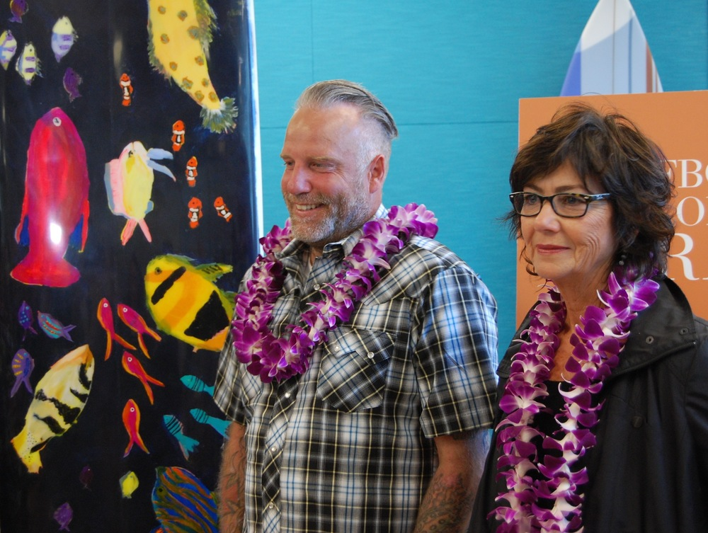 Shaper Mike Huseman and artist Carole Akins(Photo by Lauren Lloyd)