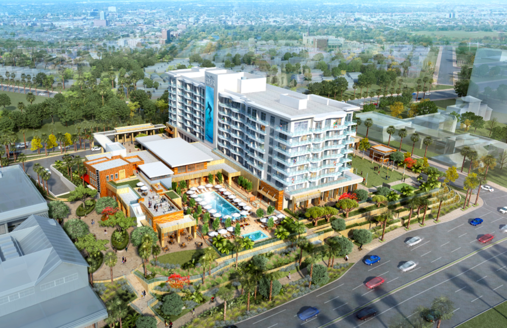 Aerial view of Paséa Hotel & Spa from southwest  (Rendering courtesy of Resonate PR)