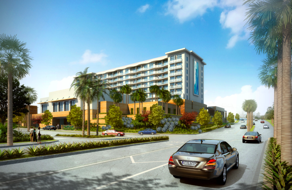 Northbound view of Paséa Hotel & Spa from Pacific Avenue  (Rendering courtesy of Resonate PR)