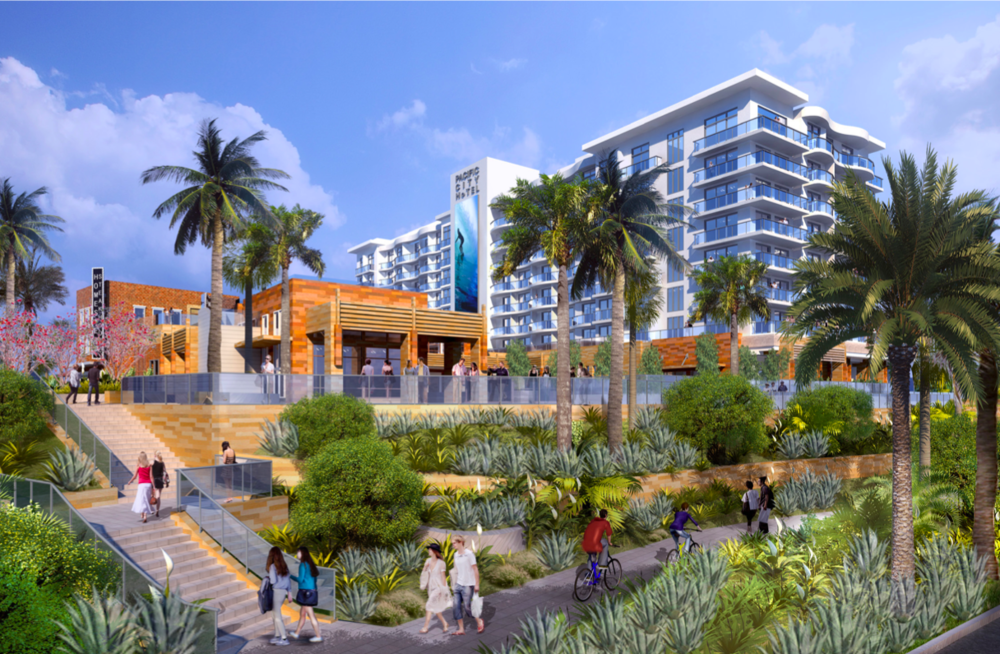 Southbound view of Paséa Hotel & Spa from Pacific Coast Highway  (Rendering courtesy of Resonate PR)