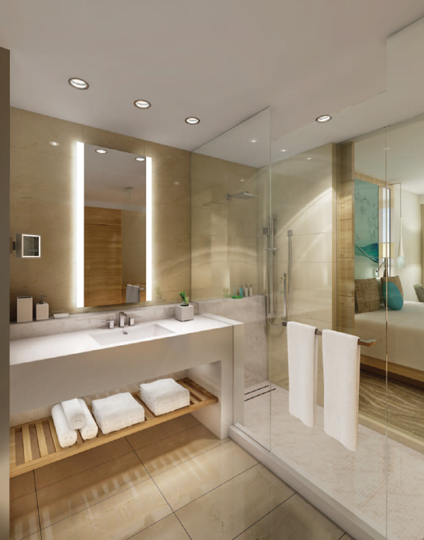 Paséa Hotel & Spa guest bathroom  (Rendering courtesy of Resonate PR)