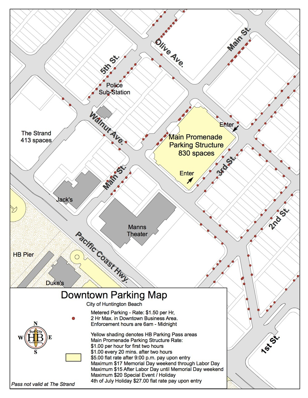 (Parking map courtesy of the City of Huntington Beach)