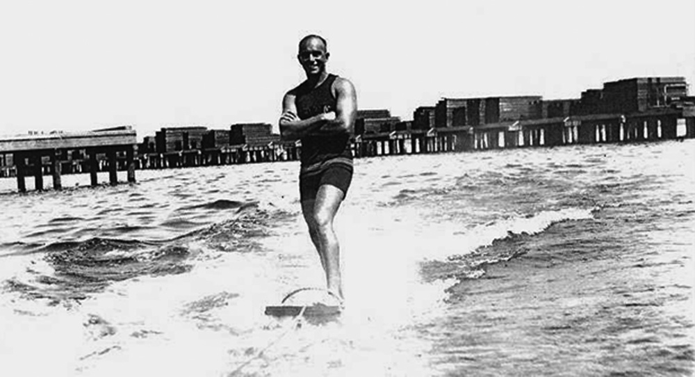 George Freeth, 1914. This shot of Freeth aquaplaning was taken in San Diego, but we included it as one of the rare photos of the man himself in action.  (Photo courtesy of Surfing Heritage & Culture Center)