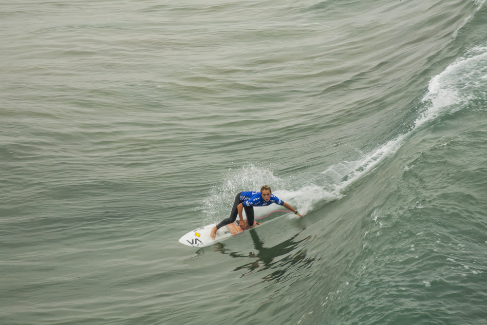 Tyler Gunter, local grom. He finished third and failed to advance, but had overwhelming support from the fans on the pier and on the beach. (Photo and commentary by Michael Latham)