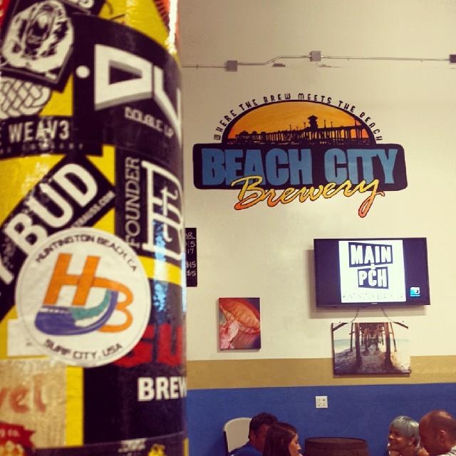 """Spotted! My  #HBwavelogo  up at @beachcitybrewery during the @mainandpch anniversary party. Great people and great beers. Thanks! @mainandpch""  (Photo by  Sam Bernal )"