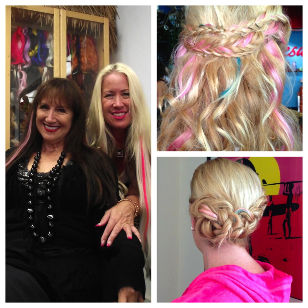 Left: Diane Adams and Susie Smith; Right: Clients of Susie Smith  (Photos courtesy of Makin' Waves Salon)
