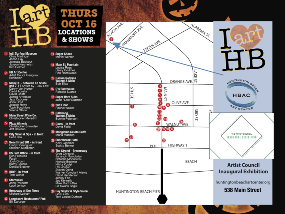 Huntington Beach Downtown Art Walk map  (Image courtesy of  Enlarge Media Group )