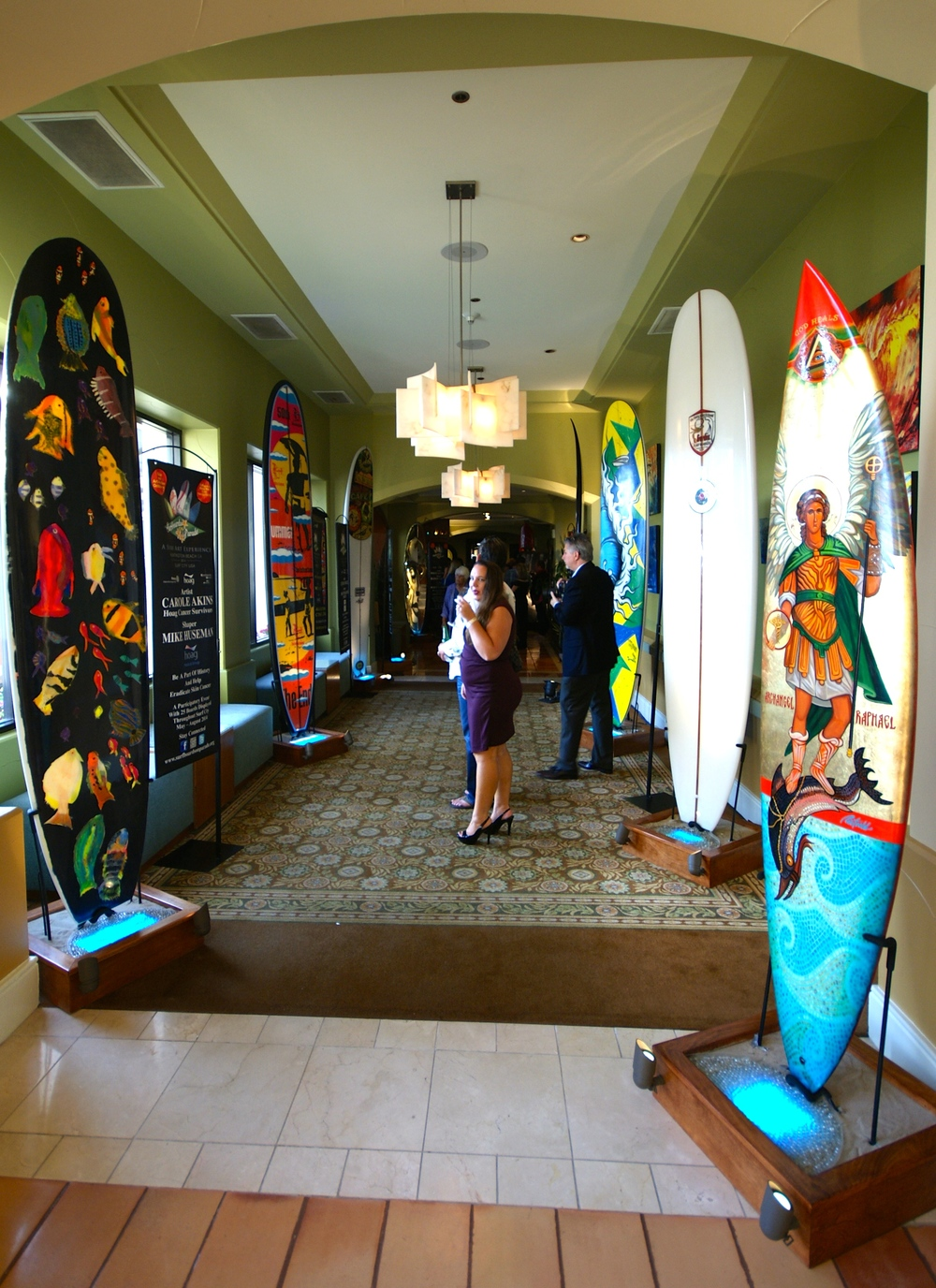 Surfboards on Parade Night of a Million Waves Gala & Art Auction at the Waterfront Beach Resort  (Photo by Hudson Wise)