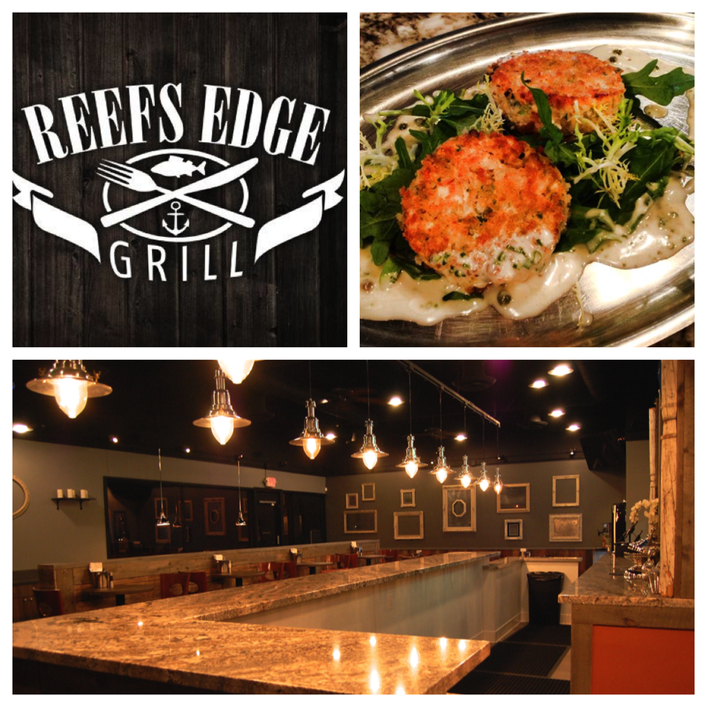 From top right: Reefs Edge Grill logo (courtesy of Reefs Edge Grill); Salmon Cakes (courtesy of Reefs Edge Grill); Reefs Edge Grill interior(by Lauren Lloyd)