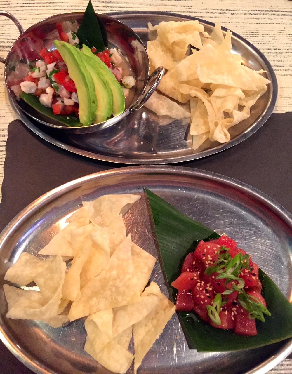 Ceviche Shrimp and Poke Ahi (Photoby Lauren Lloyd)