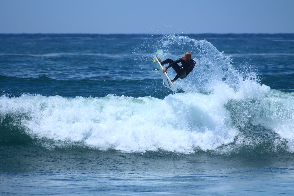 HB local Josh Bubba Queen riding the Carrozza Brofessional model at Lower Trestles  (Photo courtesy of Carrozza)