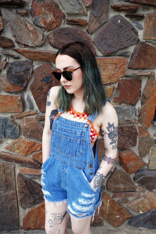 Overall Shorts w/ Crochet Top   Overall shorts are cute and functional! Having a lot of pockets at a festival can save you.   $ // Crochet top, $36 / Overalls, $35 / Sunnies, $12