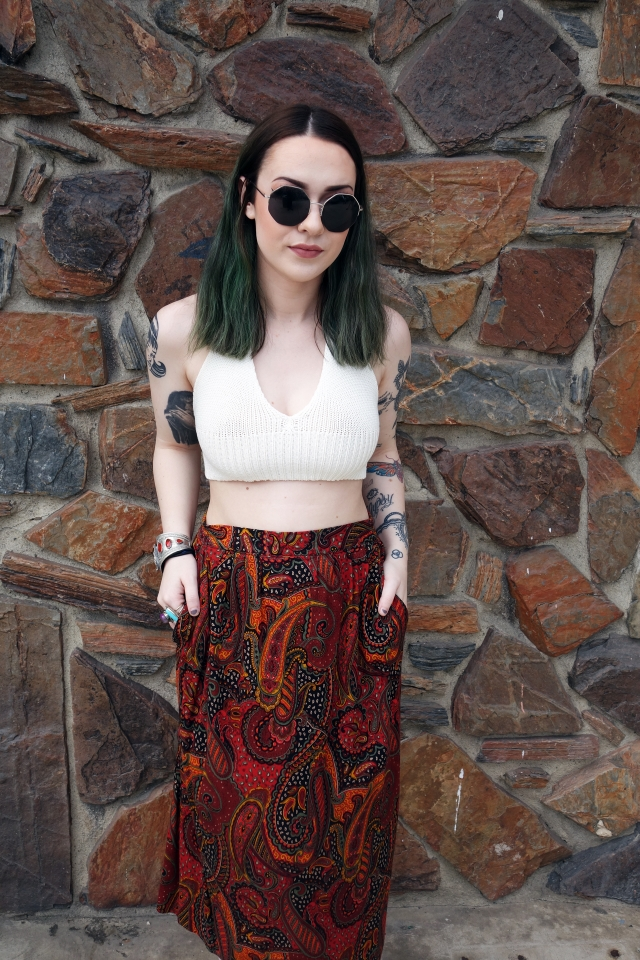 Cream Crochet Top w/ Vintage Skirt   Vintage skirts always have the best patterns, which are perfect for that psychedelic look.  $ // Plain white crochet top, $34 / Paisley skirt, $18 / Sunnies, $12