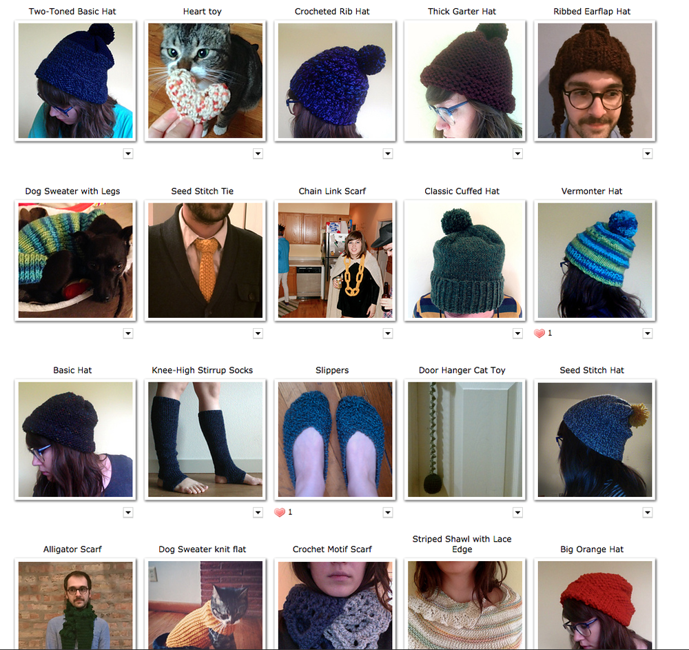 A screenshot of my projects page on Ravelry