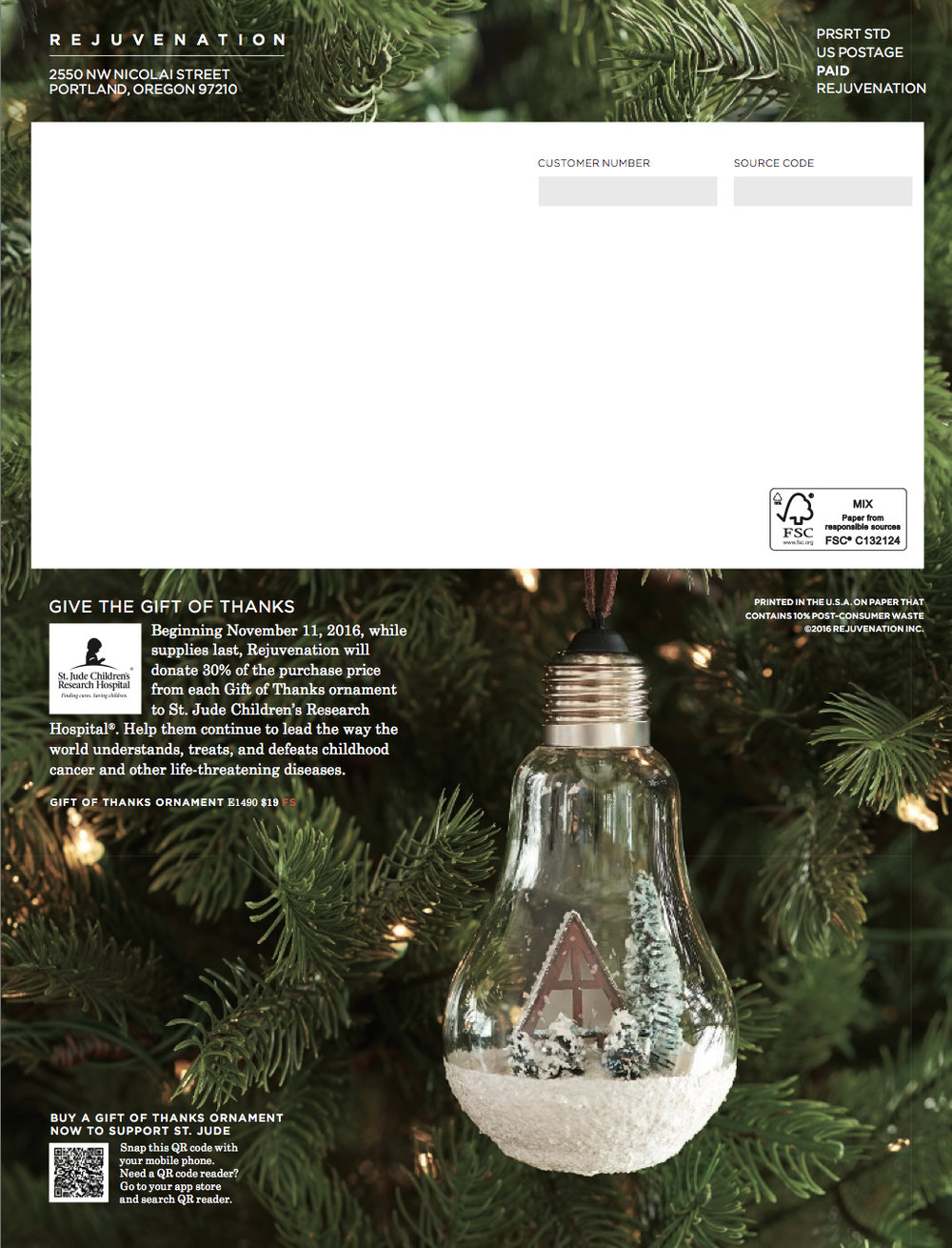 The St. Jude's a-frame ornament, featured on the back of the most recent catalog