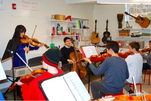 The Omer Quartet practicing with Atrium students in January, 2016