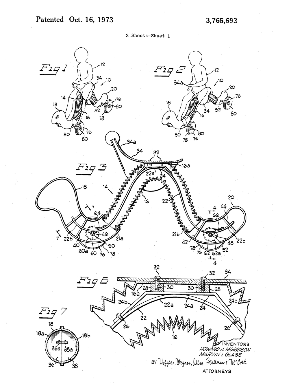 Inchworm ride-on toy patent drawing 1973