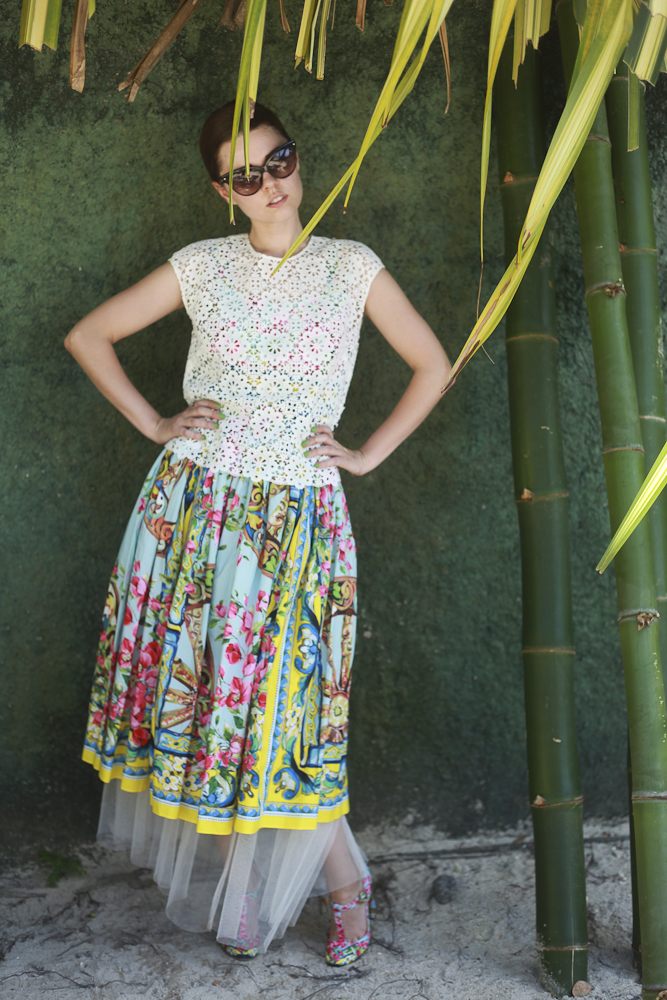 Freya in Dolce & Gabbana, Dior, Madam Virtue & Co. and Catbird