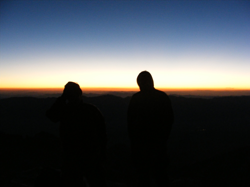 Atop Mt. Whitney awaiting the sunrise. September 2010