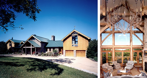 Timber Frame Addition to Log Cabin Beck Architecture Inc