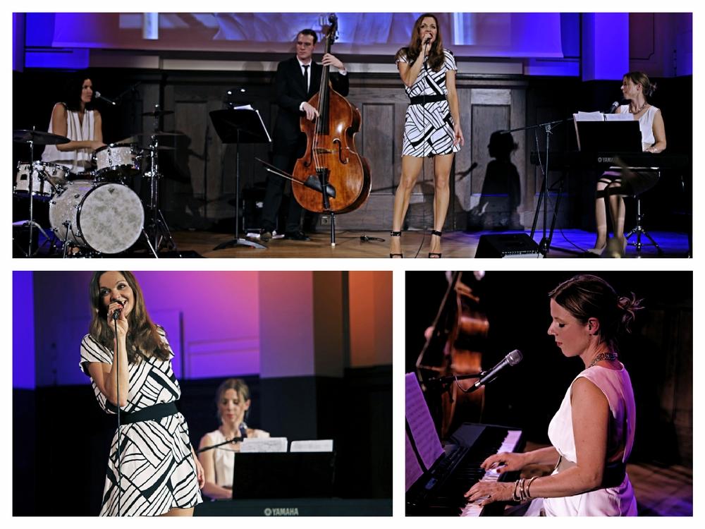 Moderatorin und Sängerin Iza Höll mit dem Jazz Quartett Fourluxe im Meistersaal